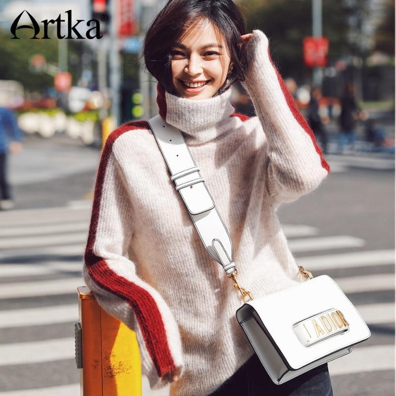 ARTKA 2018 Città Nuova Serie di Autunno e di Inverno Ha Colpito Il Colore di Lana Contenuto Tartaruga Maglione del Collo del Pullover JS17013