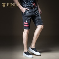 Обтягивающие джинсы Для мужчин Специальное предложение Pinli 2018 новые летние Для мужчин одежда, для отдыха, джинсы, шорты, пять брюки и прилив