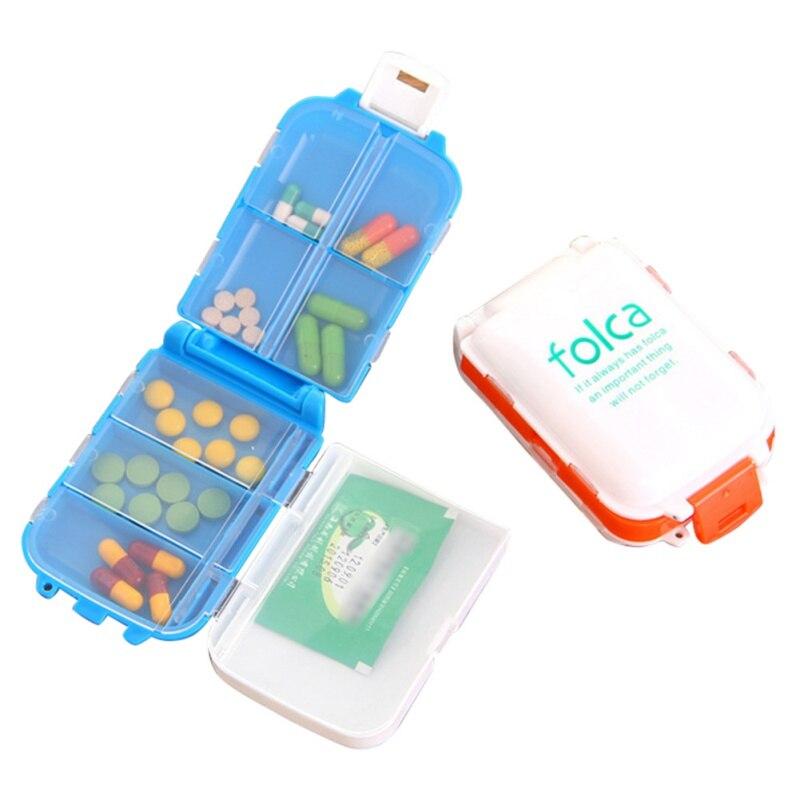 Складной лекарство Pill Box еженедельно сортировать витамин таблетки контейнер для хранения и переноски случаях 10*6,6*3,5 см