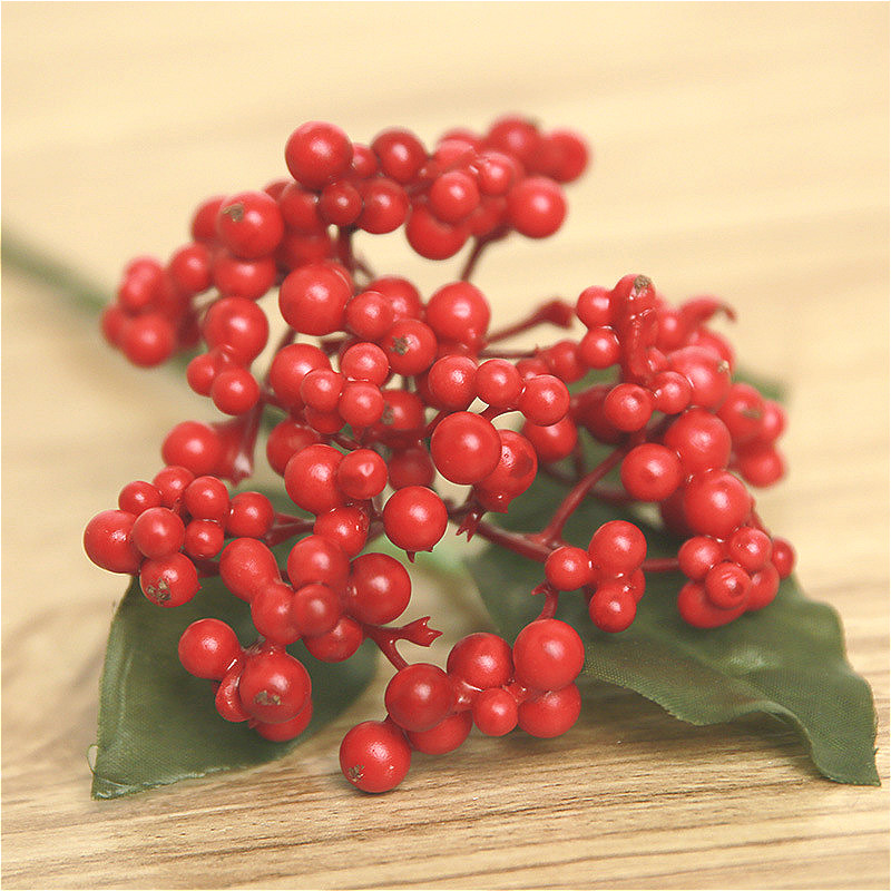 Popular red christmas plants buy cheap red christmas for Artificial cherries decoration