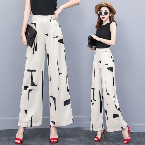 Brief Pocket Zip 2019 Palazzo Pants Print Vintage High Waist Women's Pants Casual Korean Fashion Trousers Women