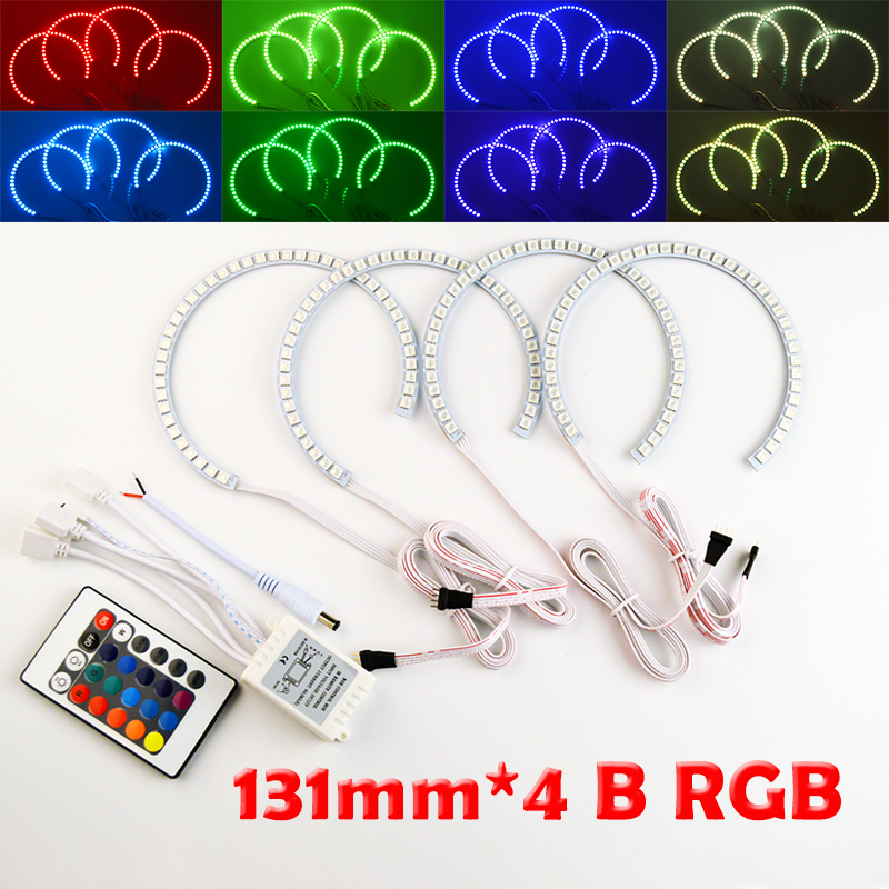 hippcron 4x131mm B RGB LED Angel Eyes Headlight Multi-color with Halo Ring Remote Control for BMW E36 E39 E46 E60 E92