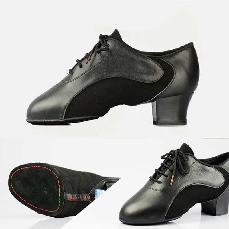 BD454 أحذية الرقص اللاتينية الأحذية قاعة حذاء رجالي الحديثة الجاز جلد طبيعي المهنة للعبة العرق داخل مزيل العرق 4.5 سنتيمتر