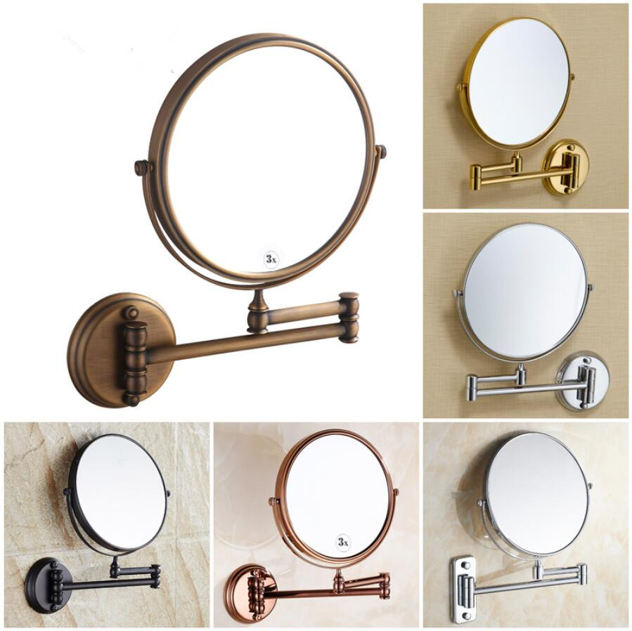 8 inch bath mirror 360 retractable wall mounted 1X/3X cosmetic makeup double faced led mirror bathroom accessories bathroom mirror 8 dual makeup mirror 1 1 and 1 3 magnifier square copper cosmetic bathroom double faced bath mirror