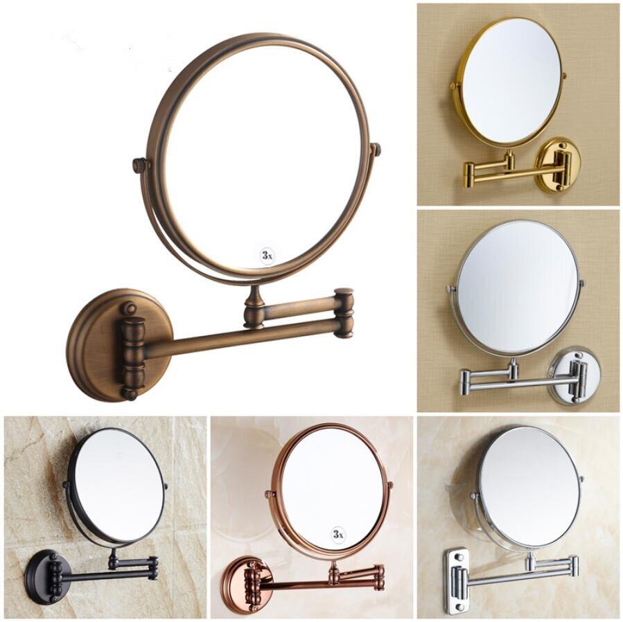 8 pouces miroir de bain 360 rétractable mural 1X/3X maquillage cosmétique double face led miroir salle de bain accessoires