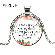 VERDVE Psalm 119 114 Bible Verse Necklace You are my Refuge and my Shield I have put my Hope in Your Word Christian Quote Gifts yutang lin my country and my people