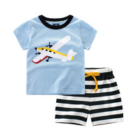 2Pc Baby Boys Summer Clothes Set Aircraft Car Ship Pattern Boys T Shirt Striped Short