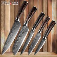 Cuchillos de cocina XITUO, cuchillos de acero inoxidable, venas de Damasco, mango de madera de Color, herramienta de corte Santoku, cuchillo de cocina para Chef