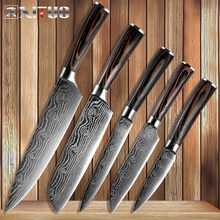 XITUO Kitchen Knives Damascus Veins Stainless Steel Knives Color Wood Handle Paring Utility Santoku Slicing Chef Cooking Knife(China)