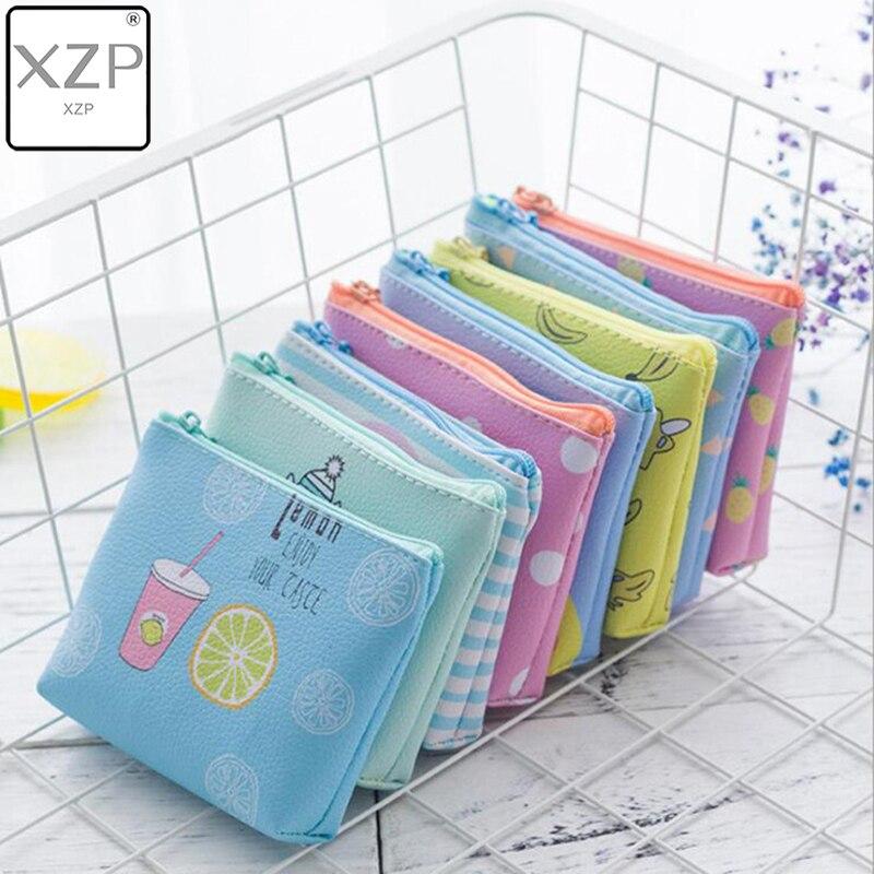 XZP Summer Cartoon Cute Zipper Coin Purse PU Leather Canvas Fruits Pattern Female Wallet Mini Creative Simple Coin Key Card Bags