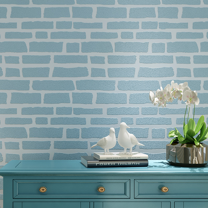 Thickened Blue White 3D Embossed Brick Wallpaper Flocked Non-woven Wall Paper for Bedroom Living Room TV Background 10MX53CM