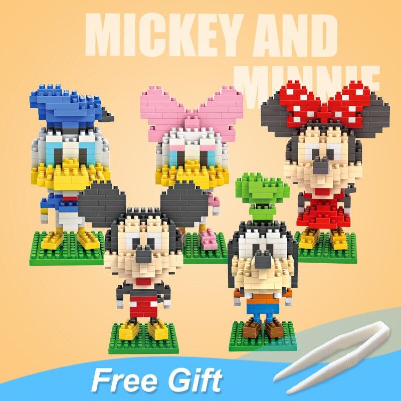 Mickey Minnie Donald figurine Figurines Mini blocs jouets pour fille enfants femme fête d'anniversaire cadeau décoration de famille