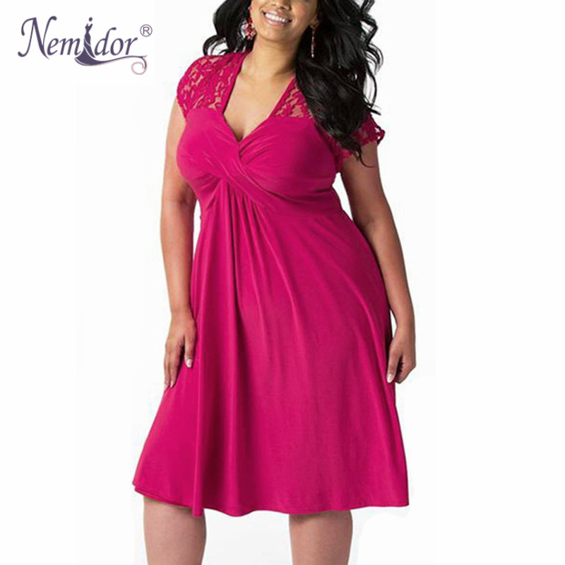Nemidor Women Casual Short Sleeve Lace Patchwork   Cocktail   A-line   Dress   Elegant V-neck Plus Size 7XL 8XL Party Midi Swing   Dress