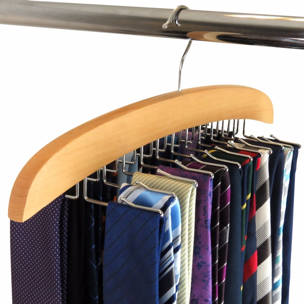Hangerlink Natural Beech Wood Single Wooden Tie Hanger Organizer Rack - Håller 24 Slipsar