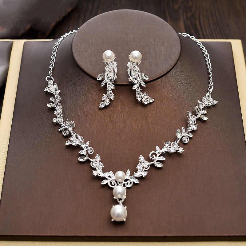Luxe Bruids Ketting Bruiloft Sieraden Sets Voor Bruiden Sieraden Parel Tiara Kroon Oorbellen Set Verjaardagsfeestje Vrouwen Accessoires