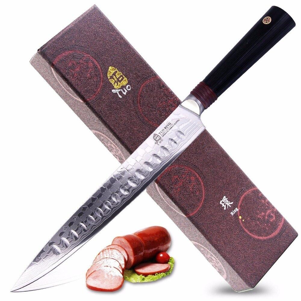 TUO столовые приборы кольцо серии D японский дамасский нож 9 , AUS-10 нержавеющая сталь с драконом дамасский узор-подарочная коробка