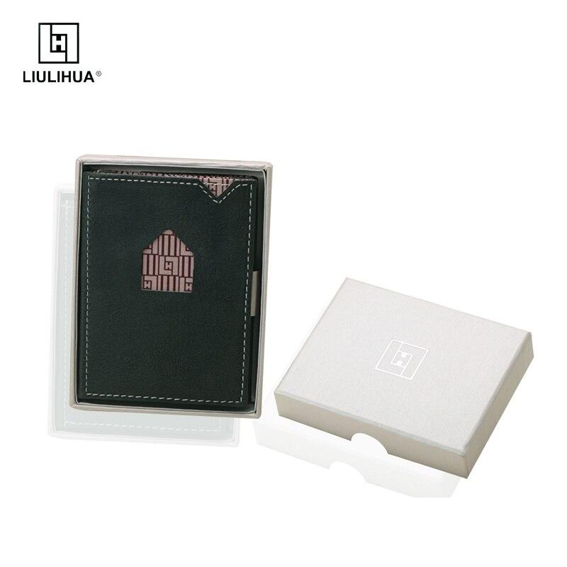 LLH belle mini port-carte portefeuille d'affaires 100% réel en cuir véritable hommes portefeuille mince carte étui protecteur mâle ID poche sacs à main