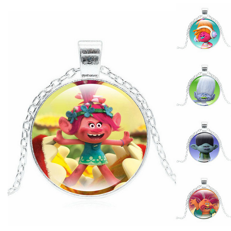 Hot Moana Pendant Anime carton Silver/Bronze Trolls Doll Chain Necklace with 2.8CM Kid Action Figure Toys for Kids Girls Gifts 4 design bronze vintage quartz pocket watch free mason sword art online gear necklace pendant chain womens mens gifts p1123