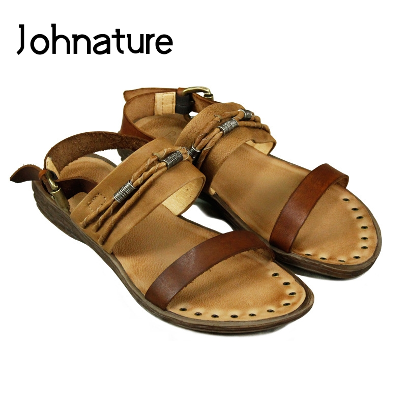 Johnature 2019 New Summer Genuine Leather Handcrafted Mixed Colors Buckle Strap Retro Casual Rivet Flat soled Women SandalsJohnature 2019 New Summer Genuine Leather Handcrafted Mixed Colors Buckle Strap Retro Casual Rivet Flat soled Women Sandals