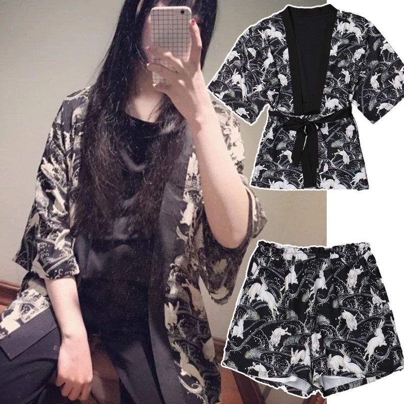 Wow! New Japan Harajuku Kimono Yukata Style Cute Bunny Rabbit Coat Bathrobe Causal Shorts