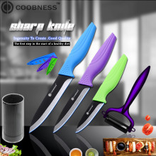 COOBNESS Brand 5 Piece Set Black Blade Ceramic Knives 3 Fruit 4 Utility Slicing Knife And Kitchen Holder Sharp Peeler