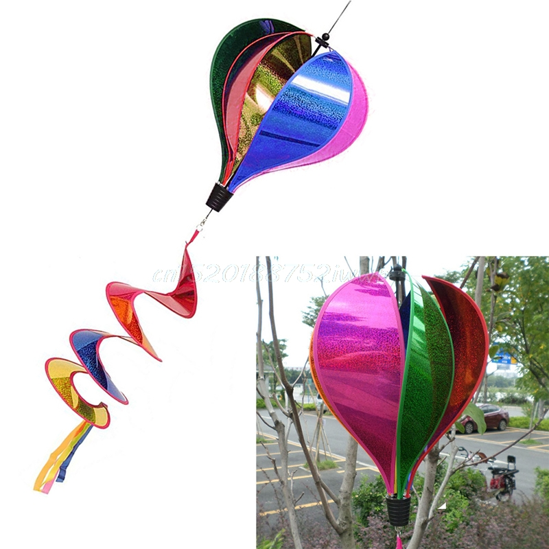 Colorful Rainbow/Grid Hot Air Balloon Stripe Windsock Wind Spinner Garden Yard Outdoor Decor #T026#