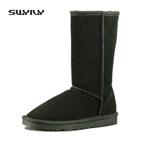 Snow Boots High Quality Women High Boots Genuine Cow Leather Winter Shoes Botas Femininas Large Size