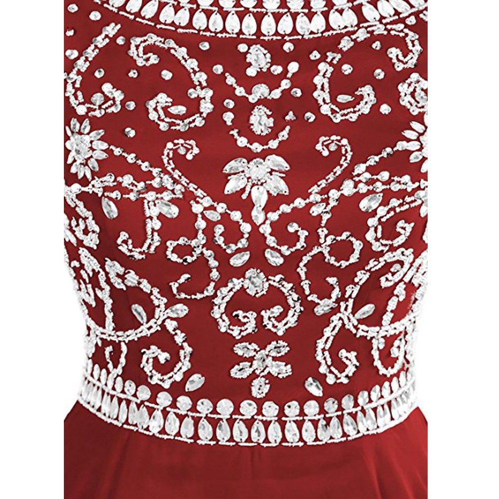 2019 High Quality Women Sex Backless Handmade Beaded Evening Dresses Custom Design Chiffon Dress Sleeveless prom dresses in Evening Dresses from Weddings Events