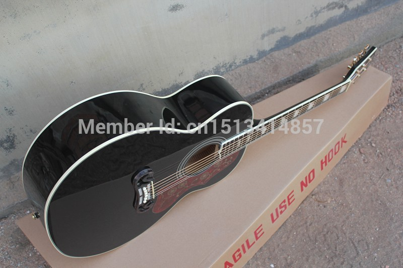 Free shipping Chinese Factory Custom 2017 100% New arrival style J 200 Super Jumbo black Acoustic Guitar in stock ! 115 shipping free new arrival factory direct jackson style electric guitar rock voice metal feeling support customization picture