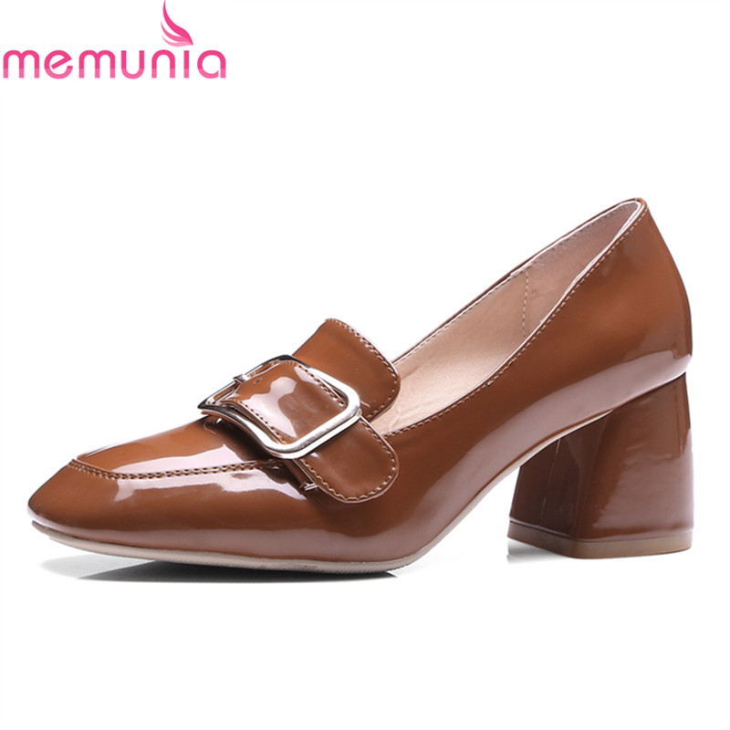MEMUNIA big size 2018 new fashion women pumps thick high heels square toe buckle shoes spring autumn retro ladies shoes memunia flock pointed toe ladies summer high heels shoes fashion buckle color mixing women pumps elegant lady prom shoes