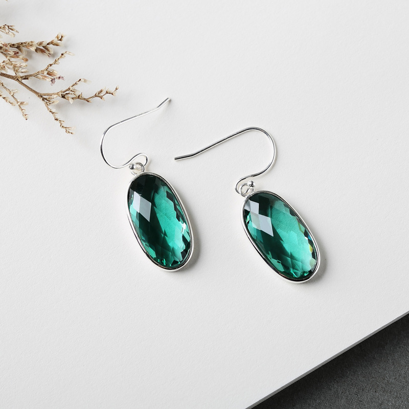 Silver 925 Earing Natural Stone Ethnic Emerald Earrings for Women Green Crystal Christmas Jewelry Joyas De Plata 925