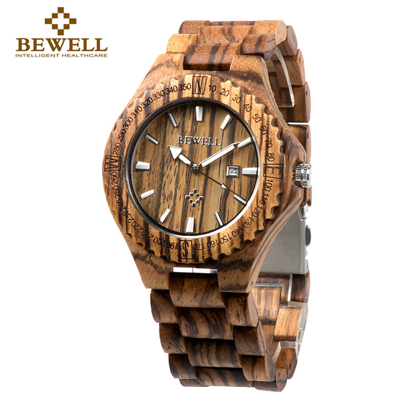 BEWELL Watch Zebra Wood Watch Watch Zebra Wood Quartz Marka Kalendari për Dizajn të Veçantë Afisho Dhuratë Dhuratë Rastesishme 023A për Rrip natyral Rrip