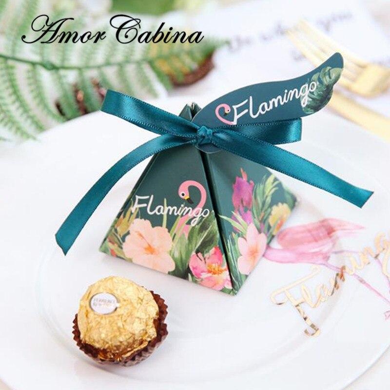 50 pcs créatif double face impression Sen flamingo pyramide mariage comme boîte à bonbons fête fournitures Bomboniera merci boîte à chocolat
