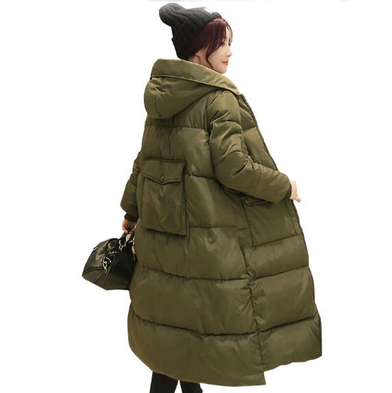 ФОТО cotton coat long 2016 new Korean hooded winter jacket thicken warm loose cotton coat women fashion bread coat parka kp1296
