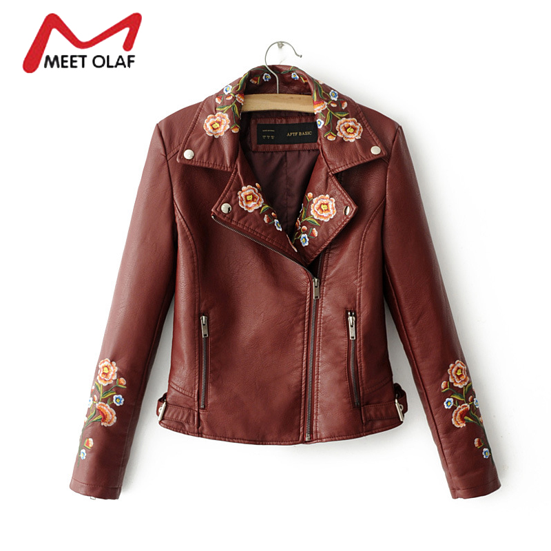 2017 New Women   Leather   Jackets Fashion Female Short Side Zipper Floral Embroidery Faux PU   Leather   Coats Ladies Autumn Coat Y1379