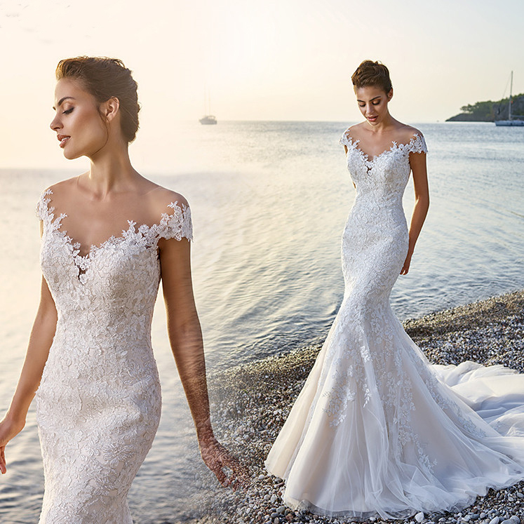 New Vintage Lace Mermaid Wedding Dresses Custom Made Short