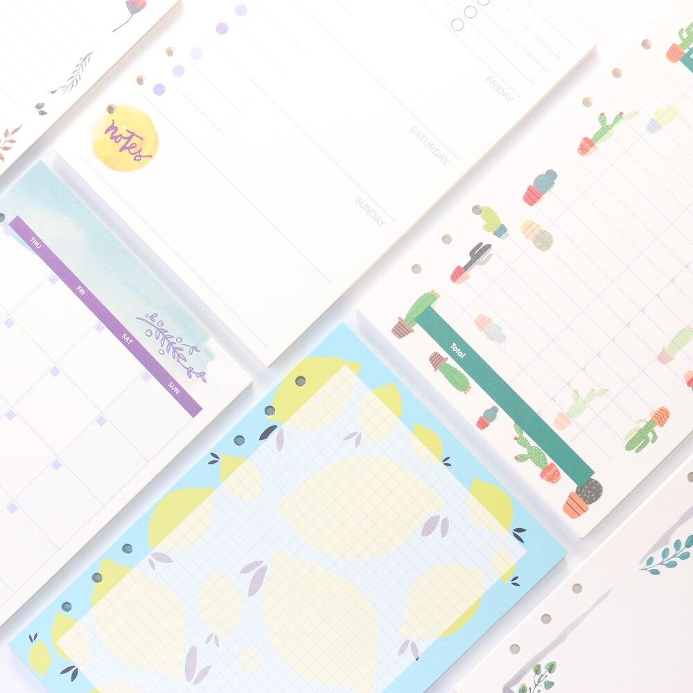 1277374cd Domikee bonito dos desenhos animados 6 furos fichário cadernos de espiral  documentos internos da recarga papelaria núcleo: semanal e mensal de conta  a linha ...