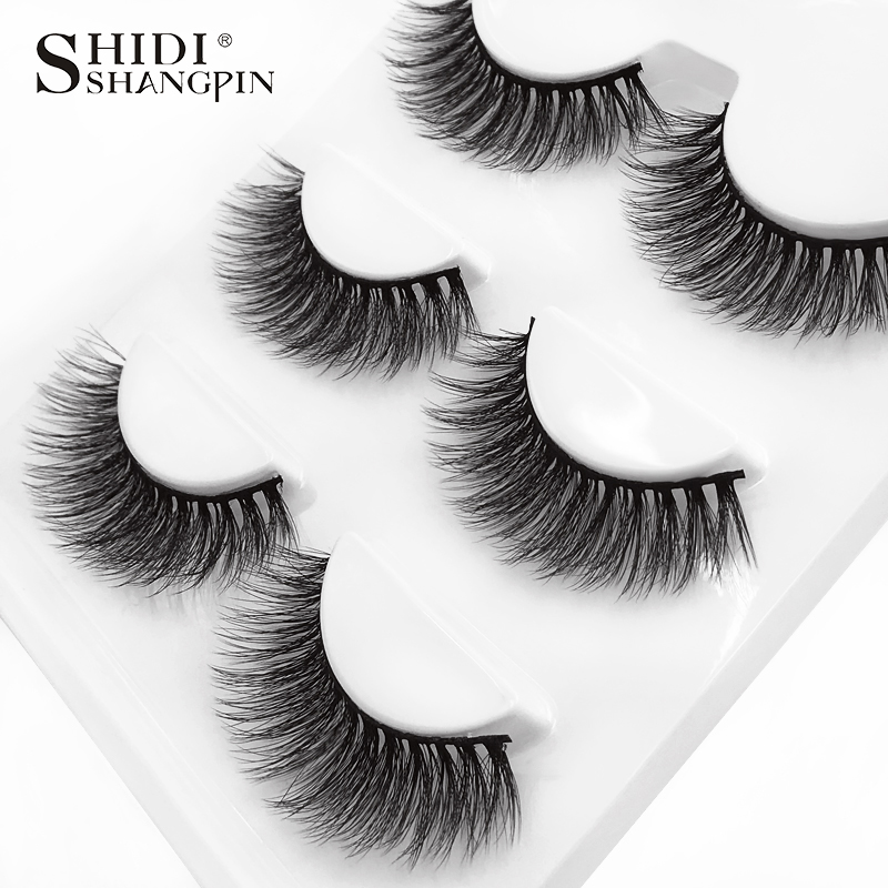 HTB1U0LrkmMmBKNjSZTEq6ysKpXaP SHIDISHANGPIN 3 pairs mink eyelashes natural fake eye lashes make up handmade 3d mink lashes false lash volume eyelash extension