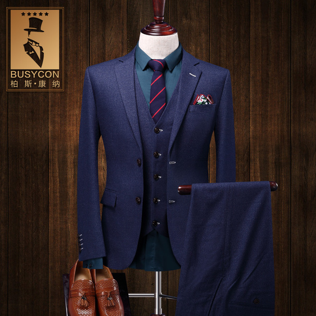 Elegant Royal Blue Mens Suit Wedding Groom Slim Fit 3 Pieces Tuxedo
