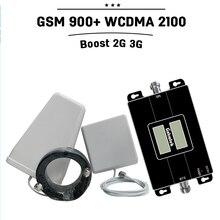 Pantallas dobles GSM 900 mhz 3G WCDMA 2100 mhz de Doble Banda de Teléfono Celular de Refuerzo Repetidor GSM 3G Amplificador Móvil Celular HSPA