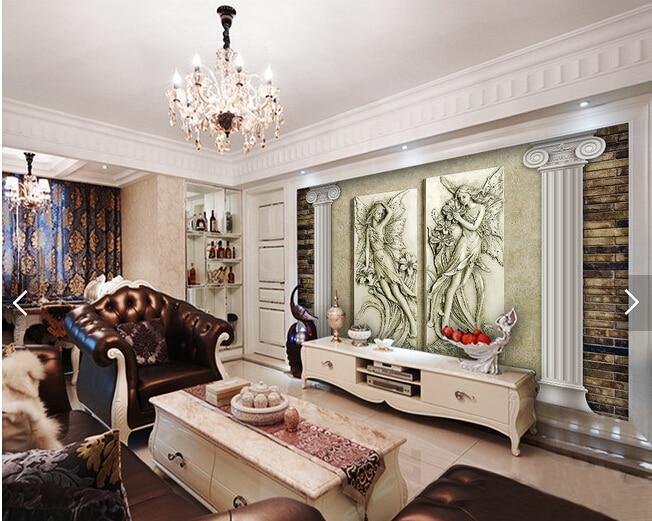 Woonkamer Vintage Bank : Custom vintage behang bloem fee 3d reliëf behang voor woonkamer