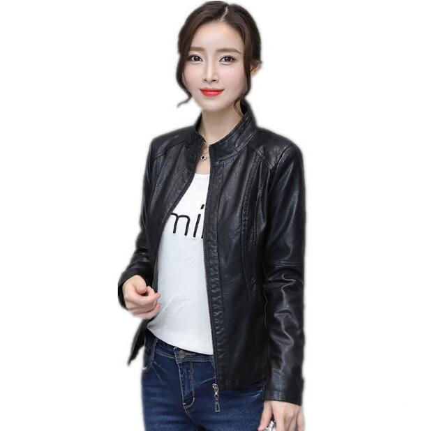 2018 Spring women stand collar   leather   jacket short coat femal motorbike   leather   coat slim design black women's outerwear S-XXL