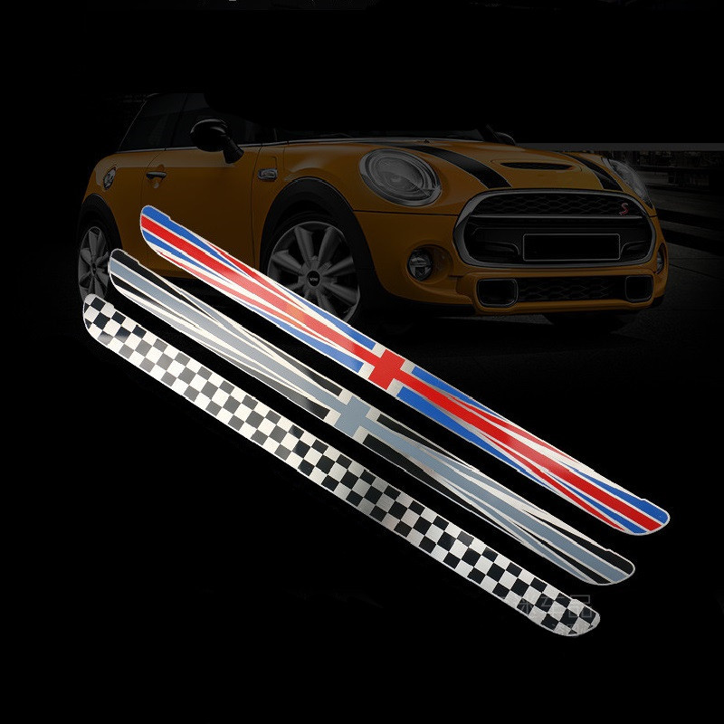 2pcs Stainless Steel Outer Car Door Sill Protection Cover Union Jack Scuff Plate for Mini Cooper