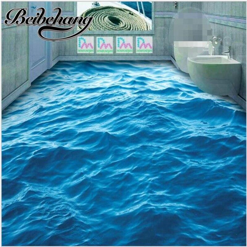 Beibehang piso de PVC auto-adesivo Papel De Parede 3d Moderno Personalizado HD ondulação das ondas do mar azul profundo não-deslizamento à prova d' água engrossado