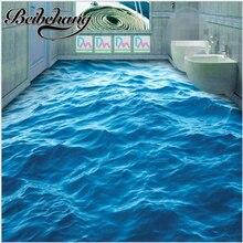 Beibehangวอลล์เปเปอร์พีวีซีกาวในตัว3dพื้นโมเดิร์นที่กำหนดเองHDลึกคลื่นทะเลสีฟ้าระลอกลื่นกันน้ำหนา