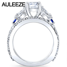 Unique Trendy 1CT Moissanites Bridal Set 14K White Gold Engagement Rings Marquise Cut Lab Grown Diamond Sapphire Wedding Set