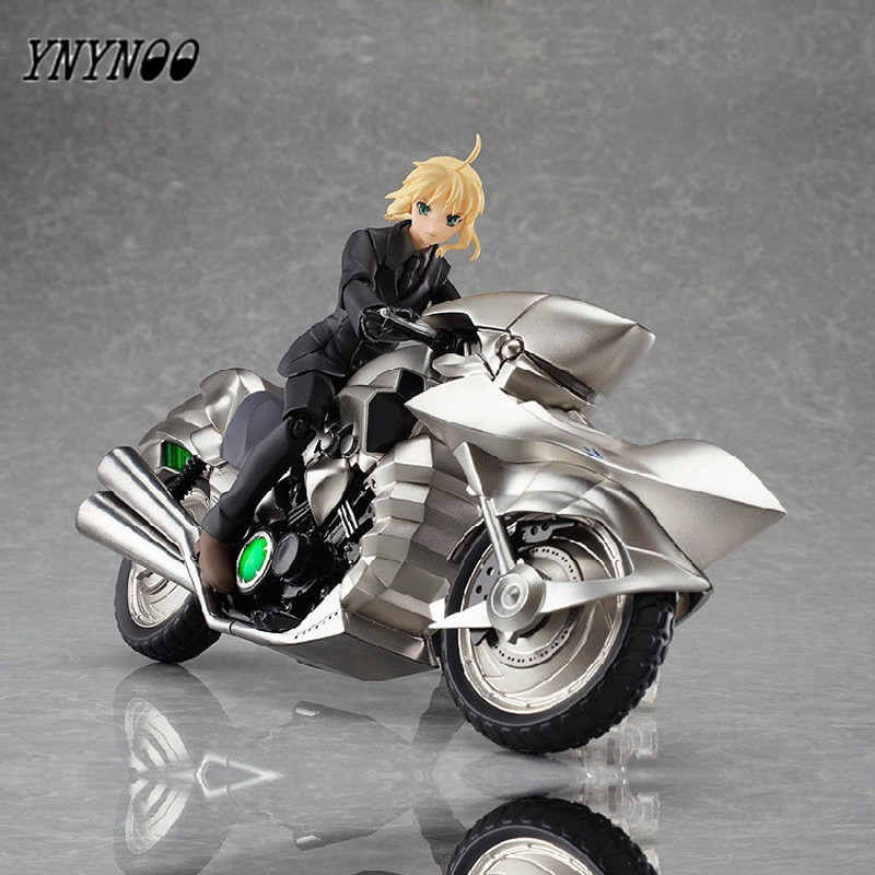YNYNOO Japanese Anime Fate/Stay Night Figma 126# Saber Black Suit Motorcycle Ver. PVC Action Figure Model Toy 20CM AF144-D ynynoo to love darkness yuuki mikan action figure wedding dress underwear ver mikan yuuki pvc figure toy brinquedos anime 24cm
