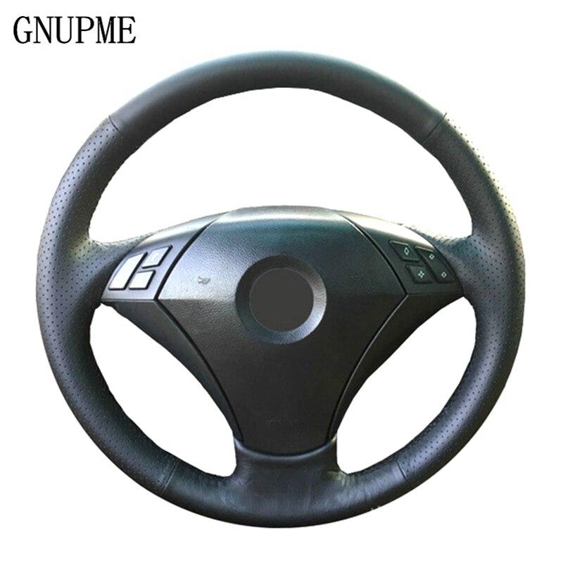 GNUPME DIY Black Genuine Leather Hand-Stitched Car Steering Wheel Cover for BMW 530 523 523li 525 520li 535 545i E60