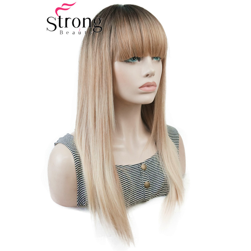 StrongBeauty Long Straight Ombre Blonde Color Swept Bangs Full Synthetic Wig COLOUR CHOICES