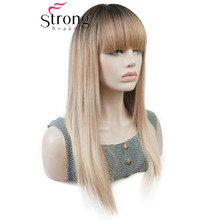 StrongBeauty Lange Gerade Ombre Blonde Farbe Fegte Pony Volle Synthetische Perücke FARBE ENTSCHEIDUNGEN